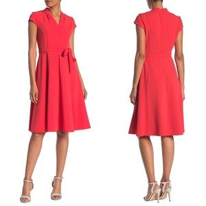 NWT sharagano 14 belted dress coral V neck